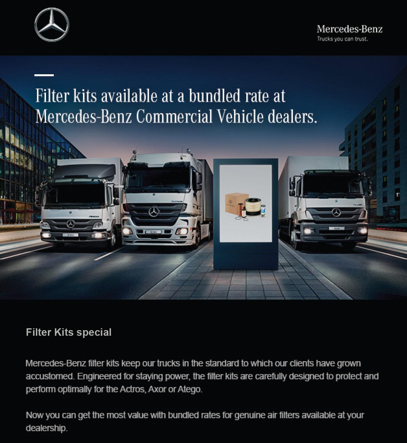 Campiagns mercedes benz commercial for Mercedes benz genuine parts